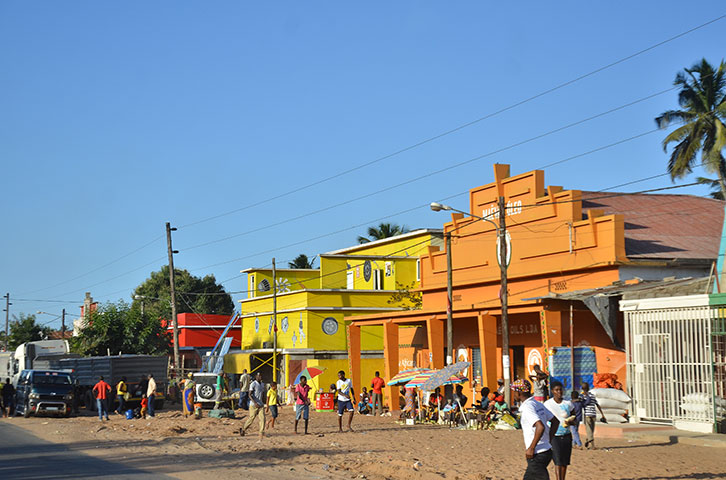Colourful buildings in Mozambique